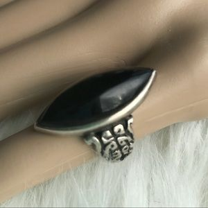Obsidian and Sterling Silver Ring